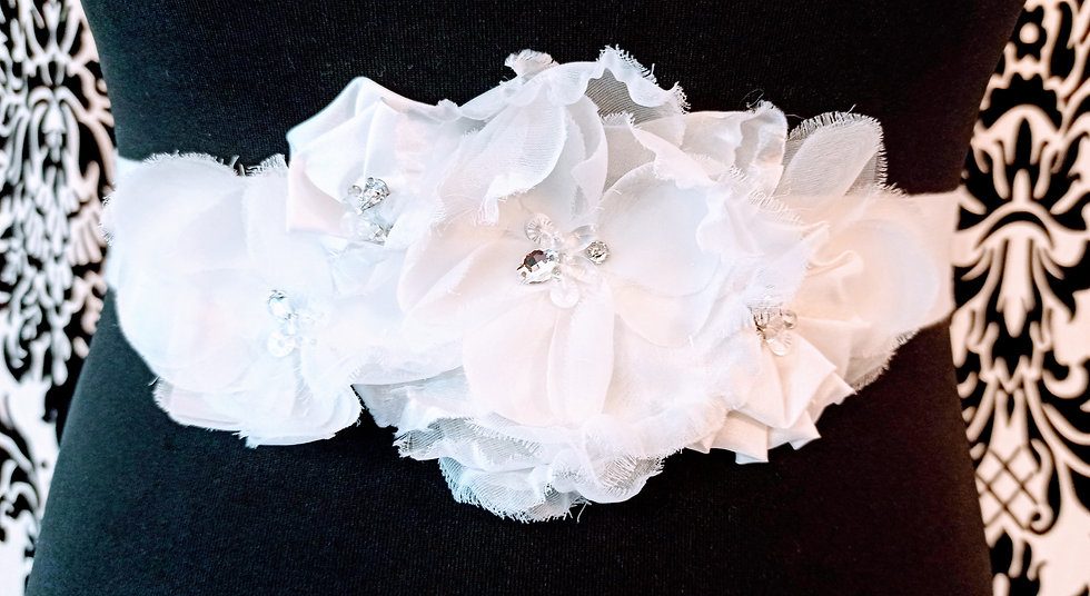 Ivory flowers with crystals on satin sash