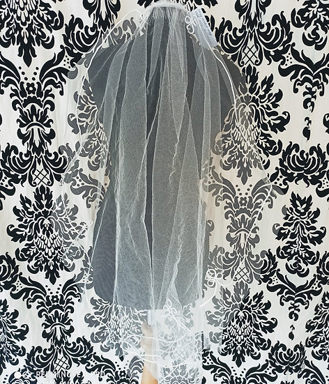 Single layer ivory corded-edge budget veil