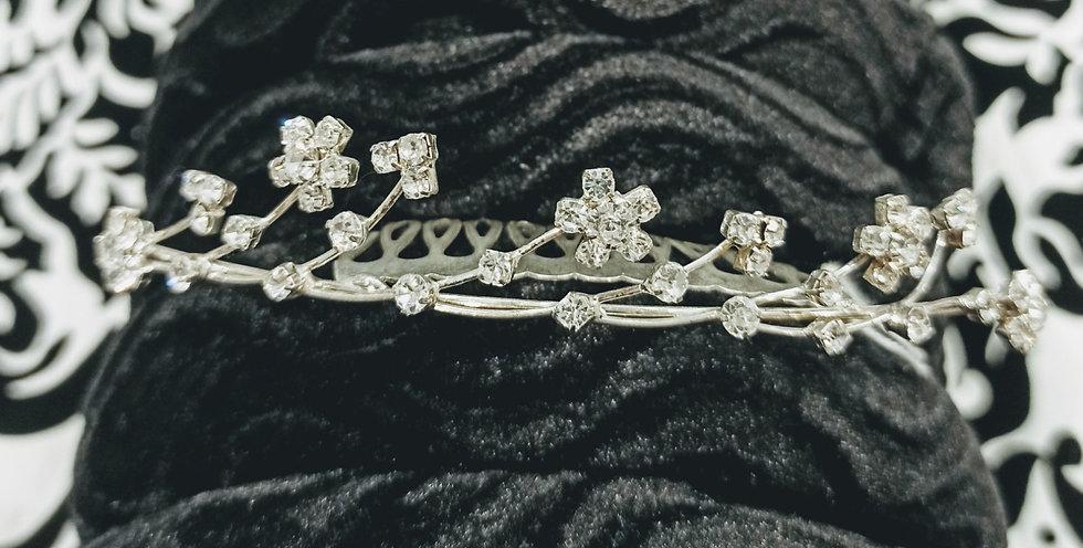 Diamante flower mini tiara