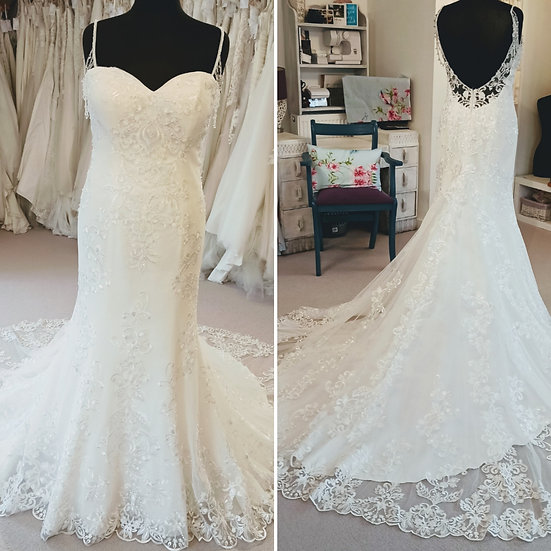 Size 16 Victoria Kay fit & flare wedding dress with off the shoulder beading
