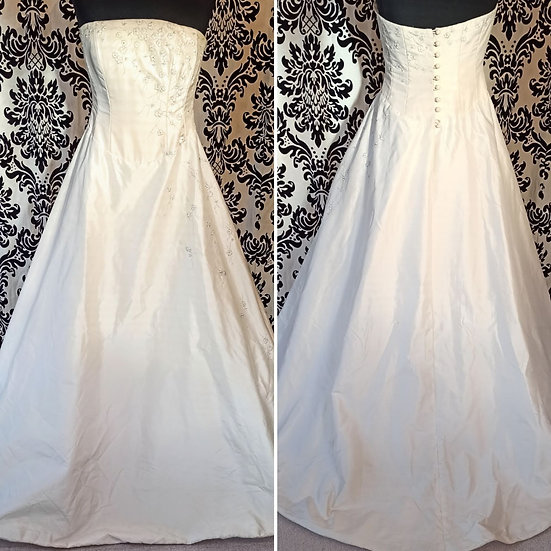 Size 12 sample pure silk A-line wedding dress