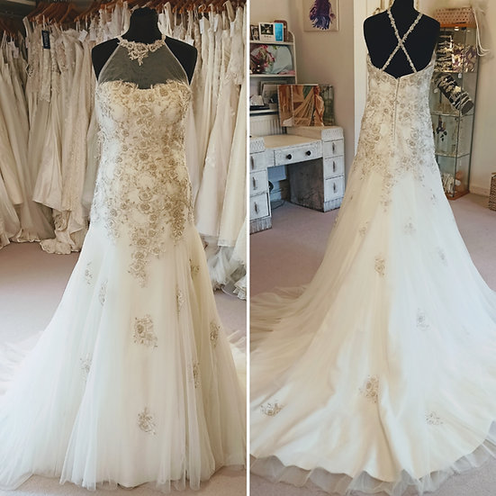 Size 14 Karen George tulle and bead halterneck wedding dress