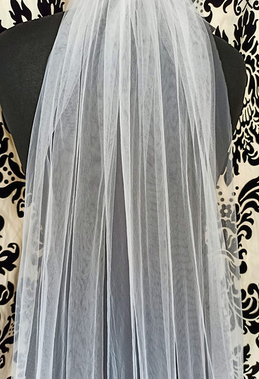 White long single-layer plain veil 200cm approx