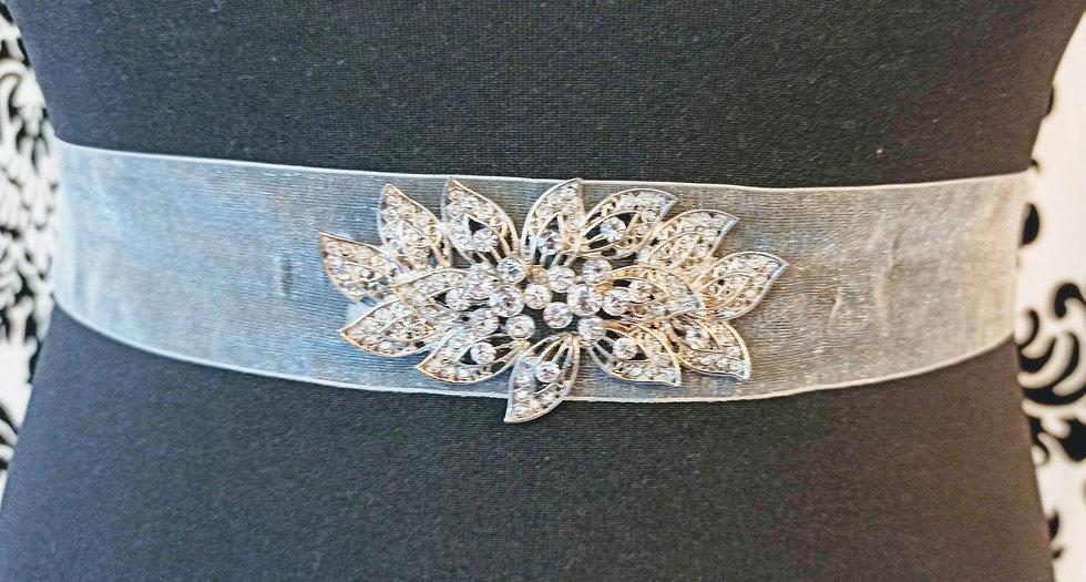 Diamante flower ivory chiffon sash
