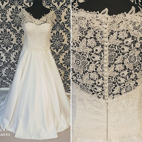 Can be ordered in 10 to 18 NEW 'Amelia' Bianco Evento lace & satin wedding dress
