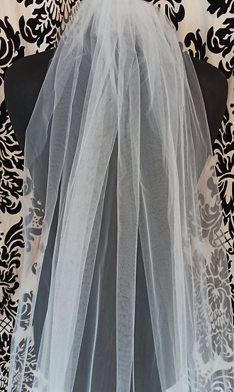Ivory long single-layer plain veil 195cm approx