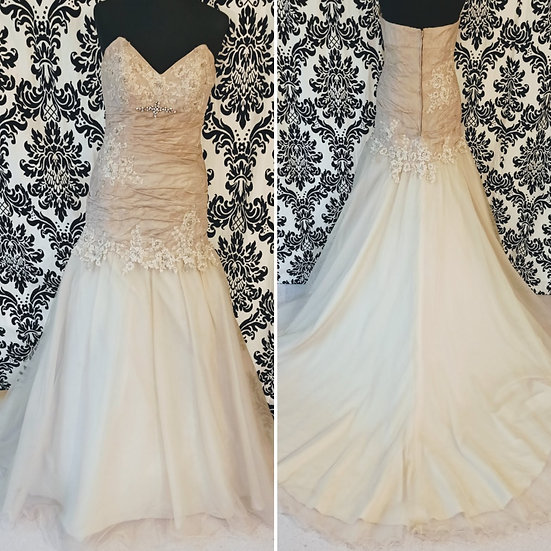 Size 12 champagne taffeta and tulle fit & flare wedding dress
