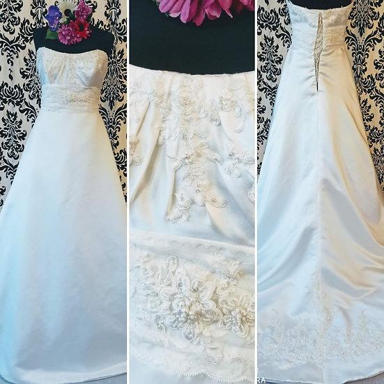 D'Zage satin corset-back a-line wedding dress size 12