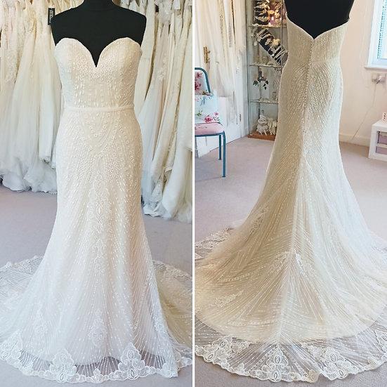 Size 14 Mon Cheri 'Enchanting' champagne fit & flare wedding dress