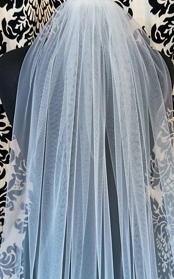 Ivory long single-layer plain veil 275cm approx