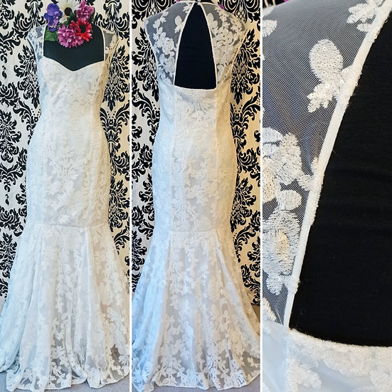 Ben de Lisi ivory sequinned fishtail wedding dress size 12