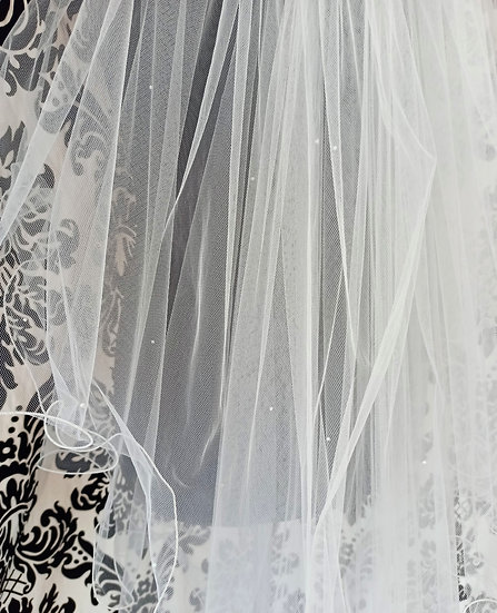 Ivory long 2-layer wave-edge veil with scattered crystals & pearls 250cm approx