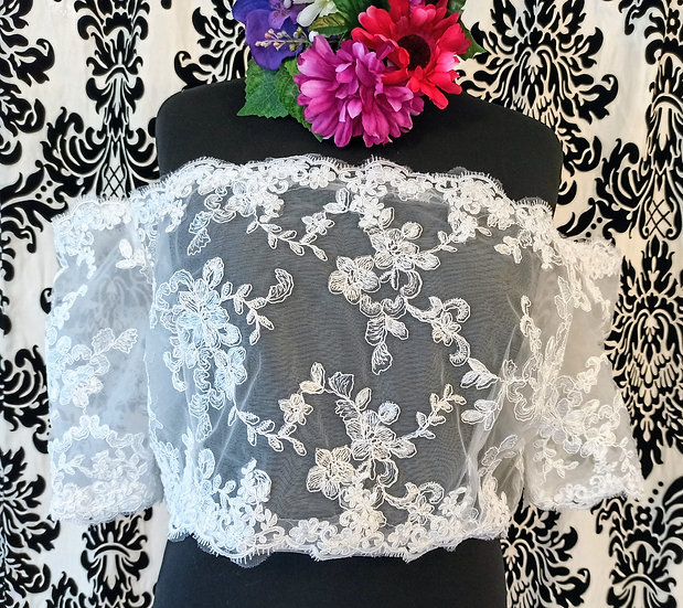 Ivory lace bardot over-top (20/22)