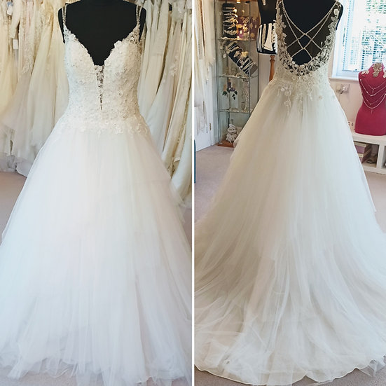 Size 14 Sophia Tolli wedding dress with a lace bodice & layered tulle skirt