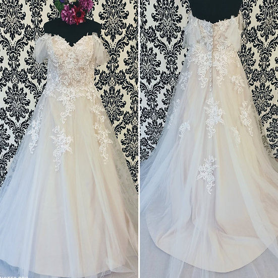 Size 18 ivory lace & blush off-the-shoulder wedding dress