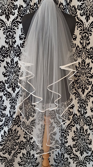 Richard Designs double layer knee-length ribbon-edge veil