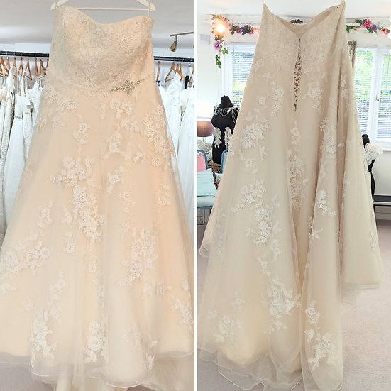 Size 26 Callista champagne and ivory lace strapless ballgown wedding dress