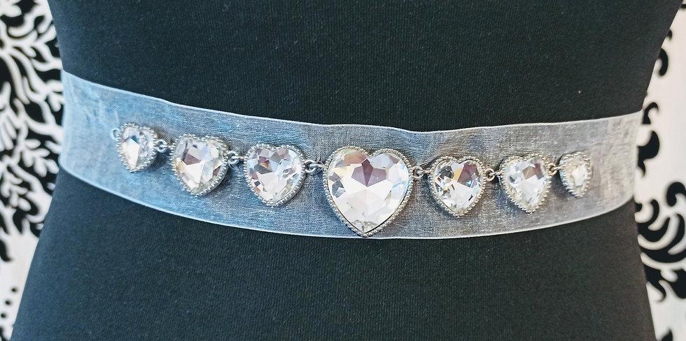Diamante hearts ivory chiffon sash