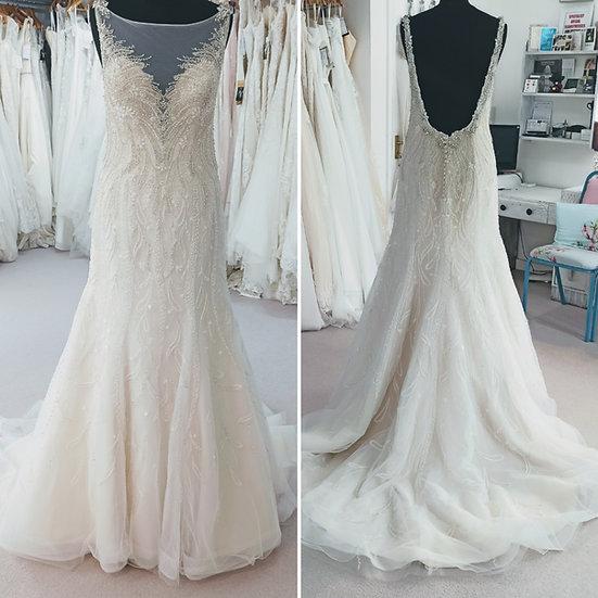 Size 14 Mon Cheri champagne sparkly fit & flare wedding dress