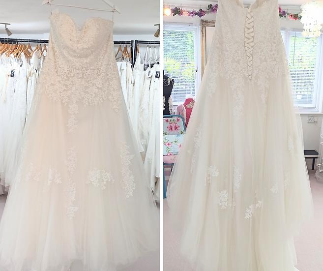 Size 24 Gaia 'Harriet' strapless lace A-line wedding dress