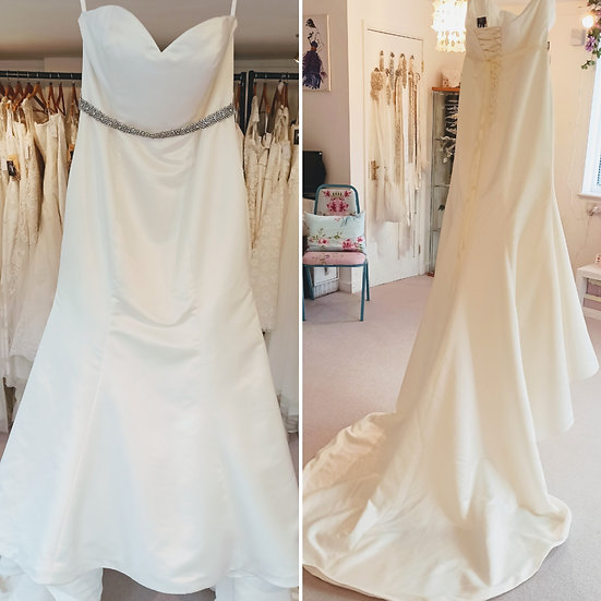 Size 24 House of Nicholas satin fit and flare wedding dress with corset back