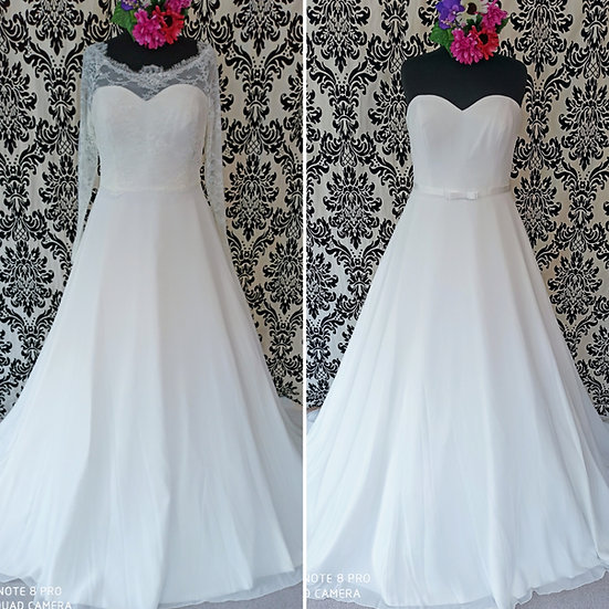 Orderable in 18 - 28, Bianco Evento wedding dress with bardot (also without)