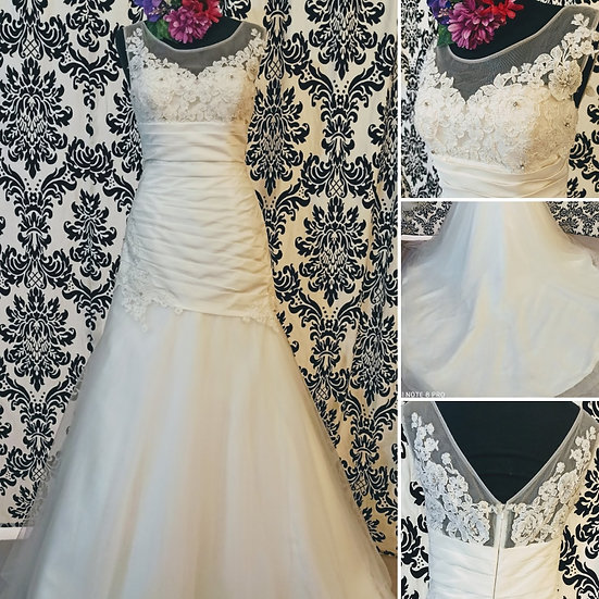 Brides by Harvee satin and tulle fit & flare wedding dress size 12