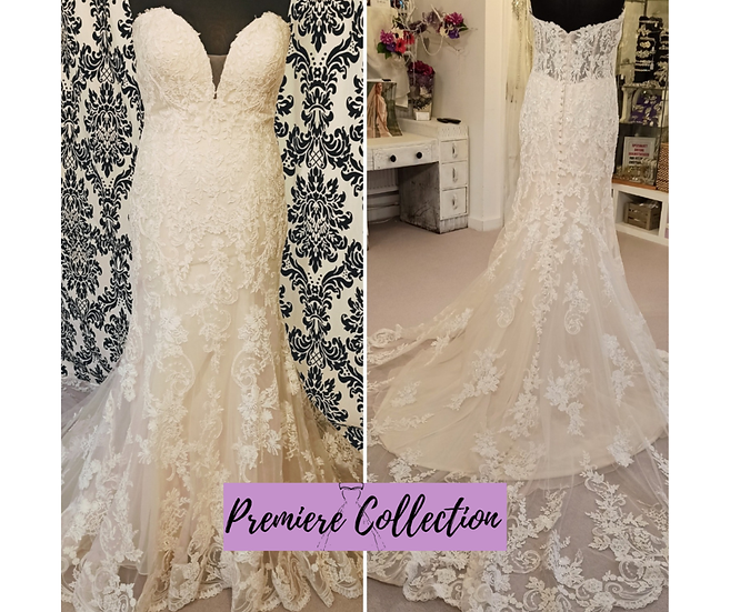Size 16 Allure Romance champagne lace fit & flare wedding dress