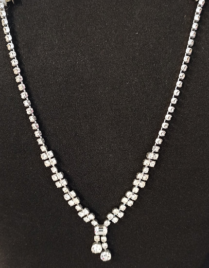 Diamante  dropper back necklace