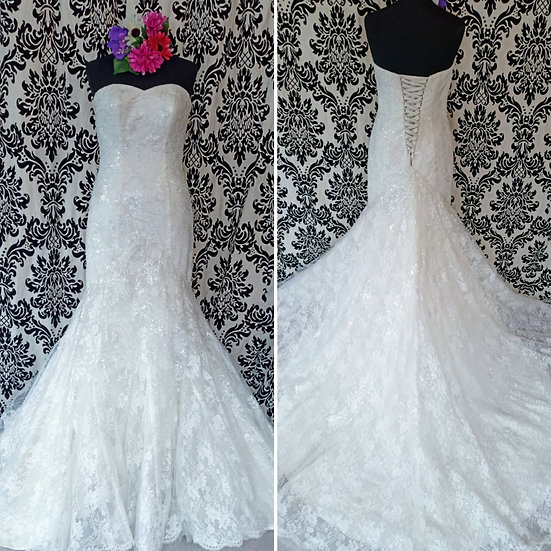 Size 10 / 12 Julian and Adam sparkly fit and flare wedding dress
