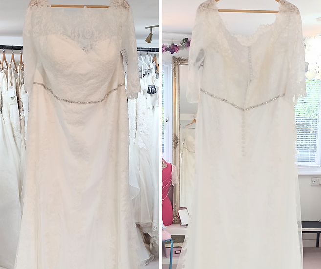 Size 28 Millie Grace ivory lace wedding dress with sleeves