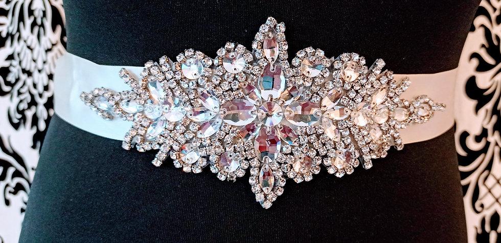 Diamante applique on satin ivory sash