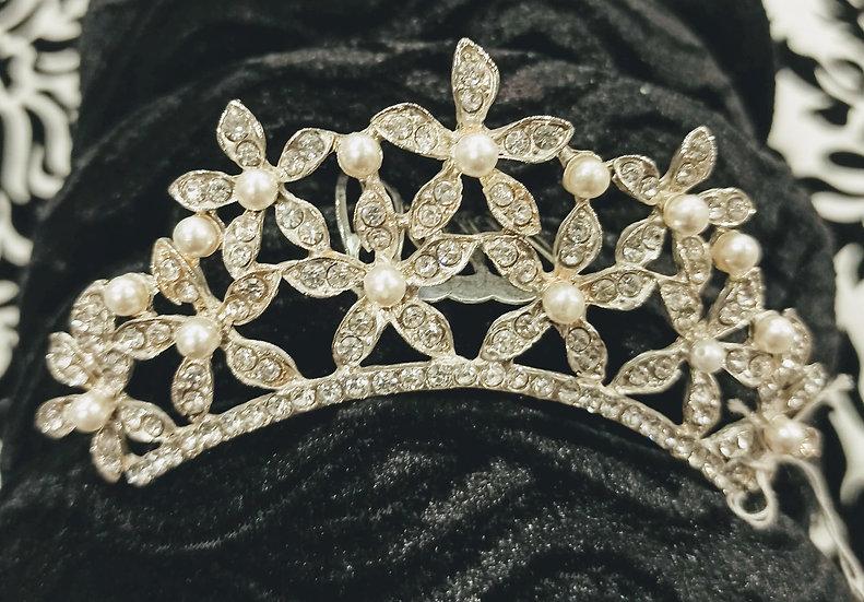 Pearl and diamante flower mini tiara