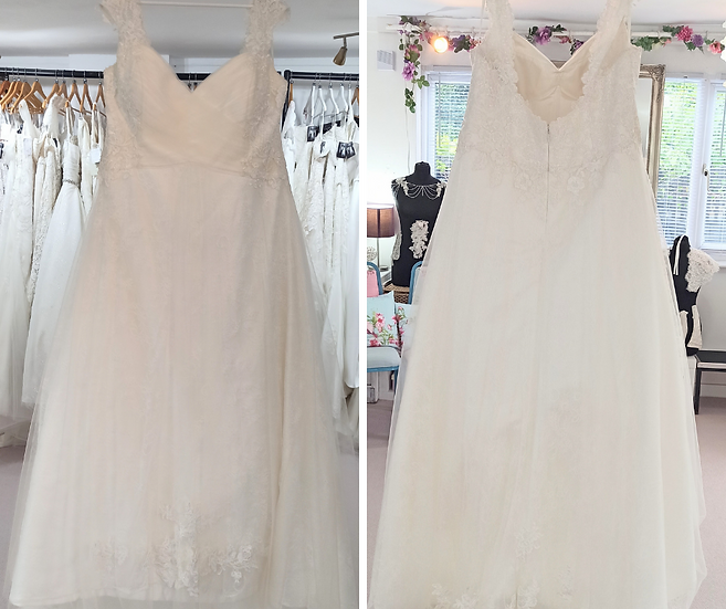 Size 26 Sonsie 'Chloe' ivory lace and tulle A-line wedding dress