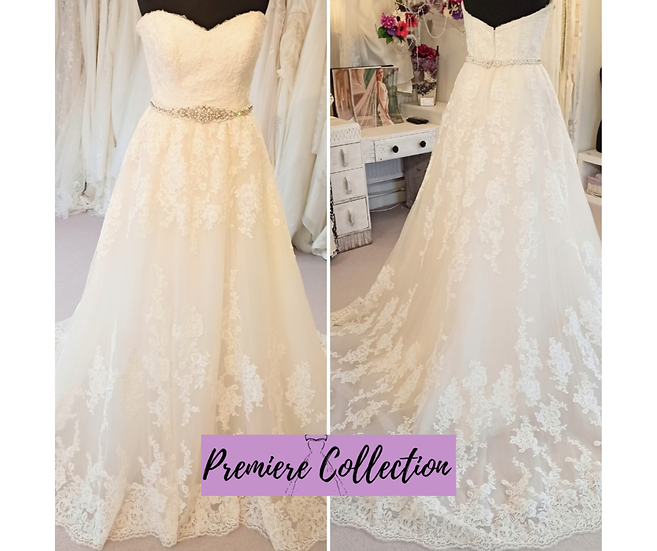 Size 10/12 David Tutera 2-in-1 wedding dress with removable overskirt
