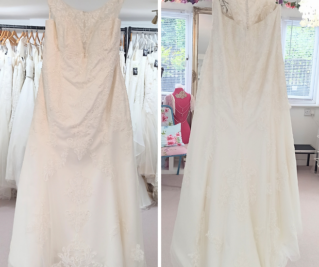 Size 30 Millie Grace 'Seraphina' ivory lace fit and flare wedding dress