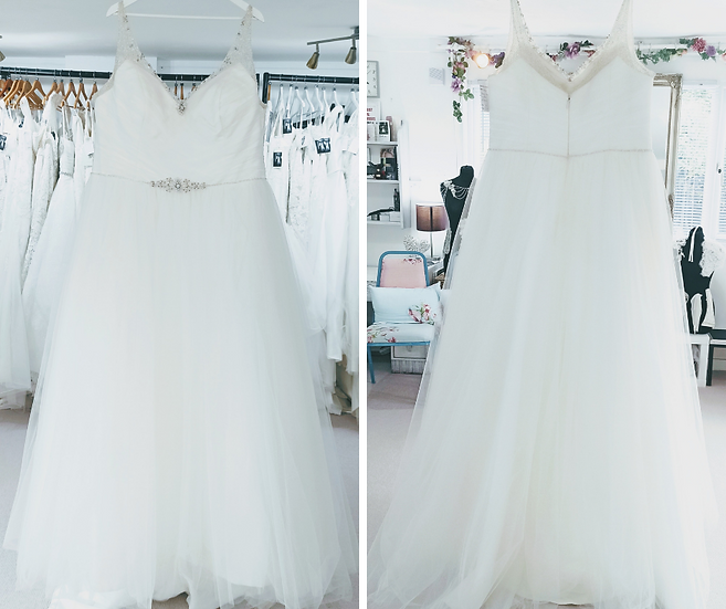 Size 26 Sonsie 'Daisy' ivory tulle ballgown wedding dress with straps