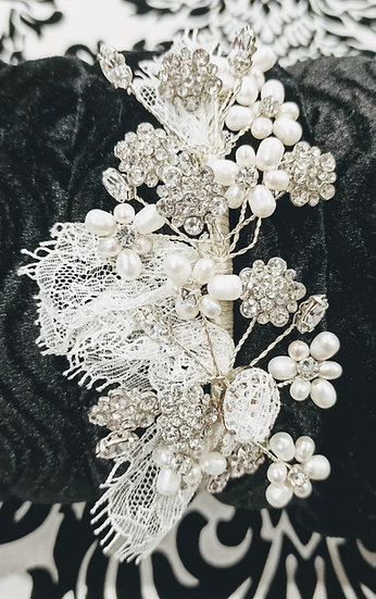 Pearl, diamante and lace alice band