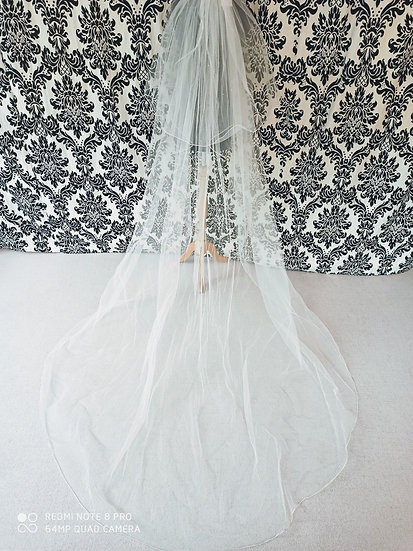 Long double layer ivory veil with sparkles