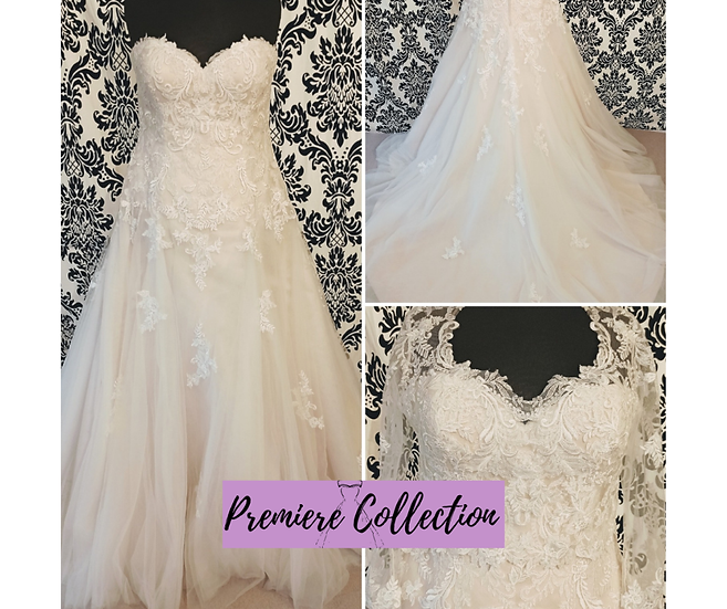 Size 18 Sincerity champagne lace wedding dress with removable jacket