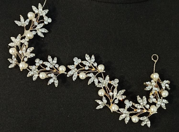 Diamante and pearl hair vine
