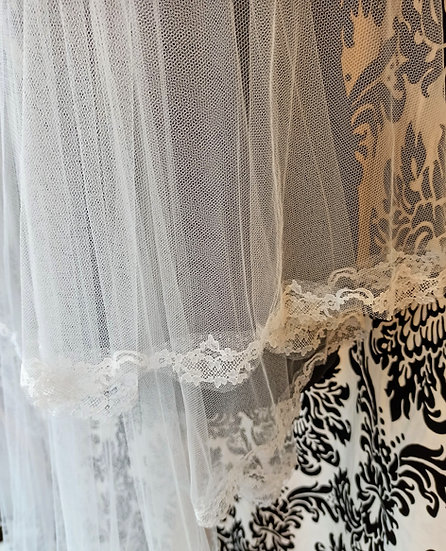 Ivory long 2-layer lace-edge veil 265cm approx