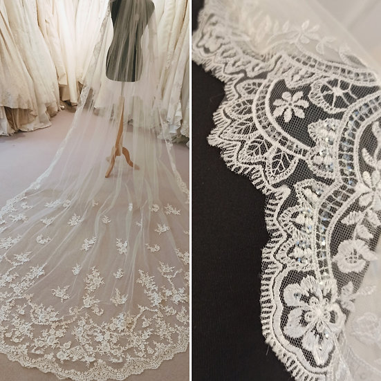 Long lace and sequin ivory veil