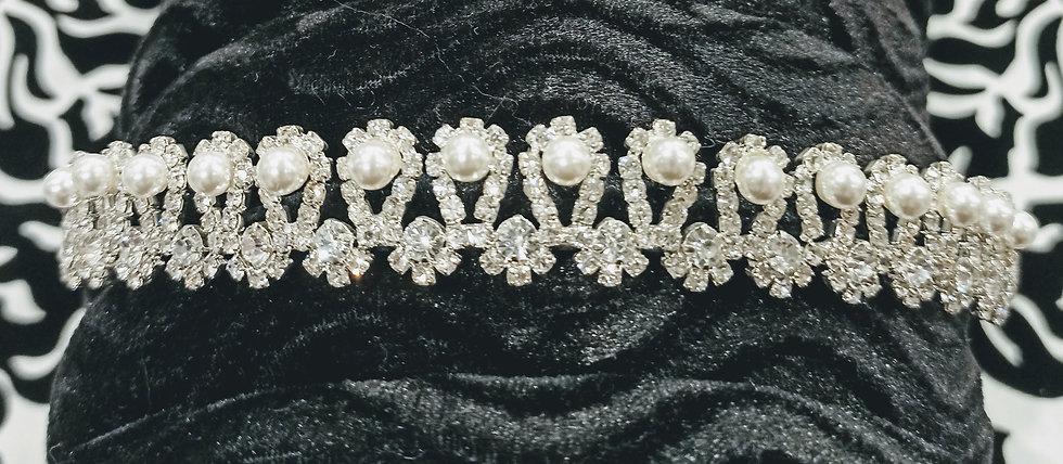 Pearl and diamante tiara