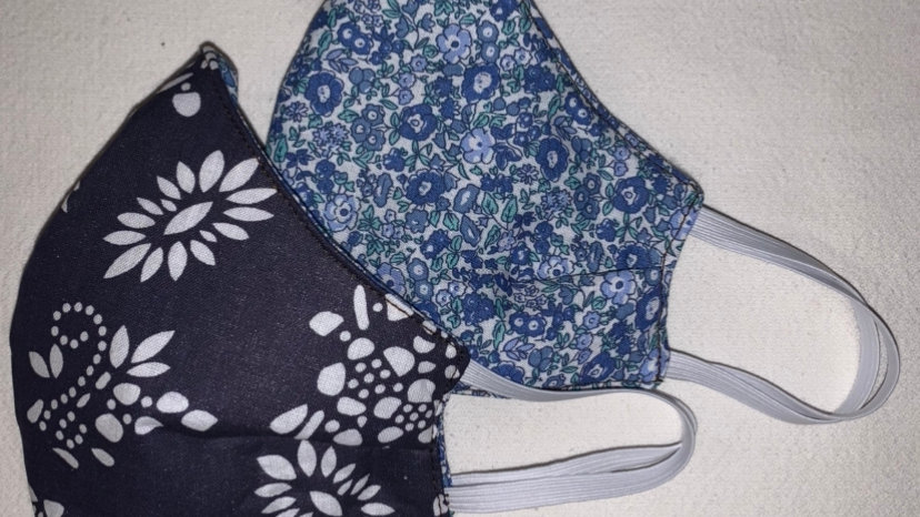 Mini Blue Valentine Cotton - Reversible 3 ply non medical cloth face mask