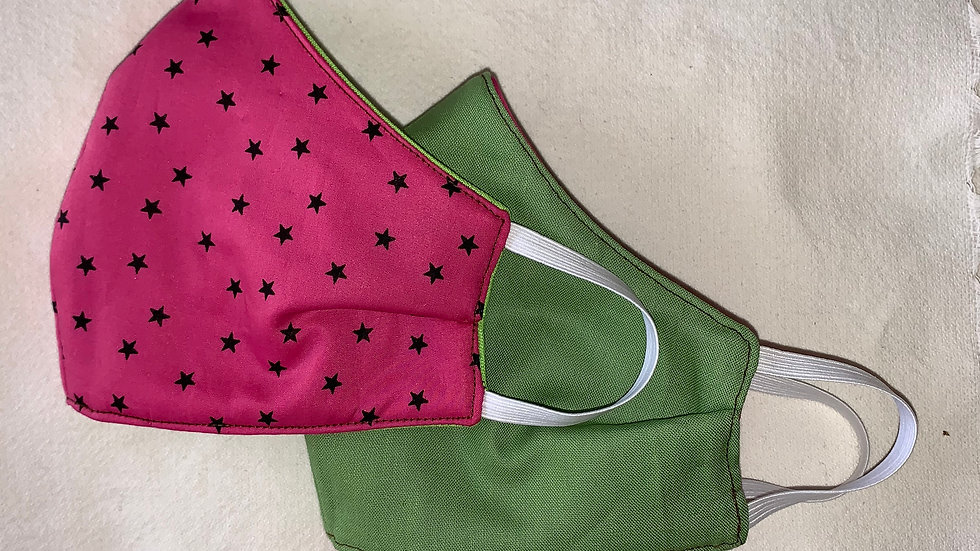 Mini Watermelon Twinkle Cotton - Reversible 3 ply non medical cloth face mas
