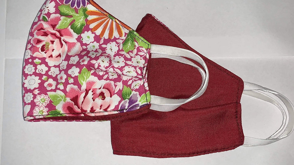 Mini Bridget Cabernet Cotton - Reversible 3 ply non medical cloth face mask