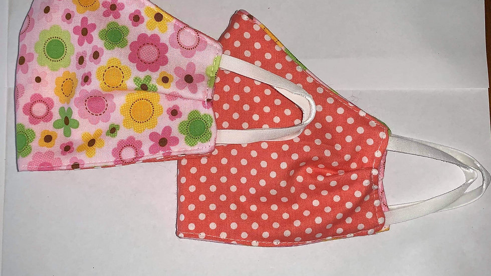 Mini Flower Power Cotton - Reversible 3 ply non medical cloth face m