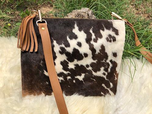 Cowhide Crossbody Purse Handbag Wallet Clutch Tricolor Chocolate Cow Lea