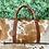Thumbnail: Cowhide Leather Duffel Bag Brown White Weekender Gym Bag